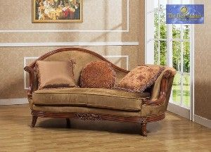 Traditional Living Room Fabric | Traditional Bronze w/ Walnut Trim Fabric Living Room Chaise review at ...