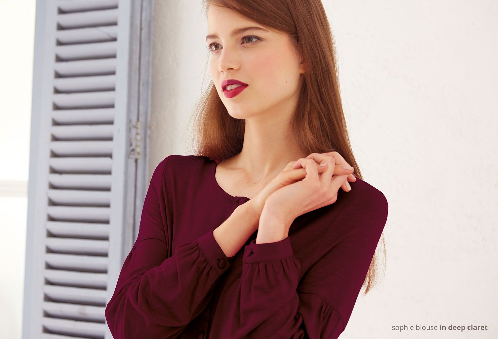 sophie blouse in deep claret - perfect for a summer palette at www.kettlewellcolours.co.uk