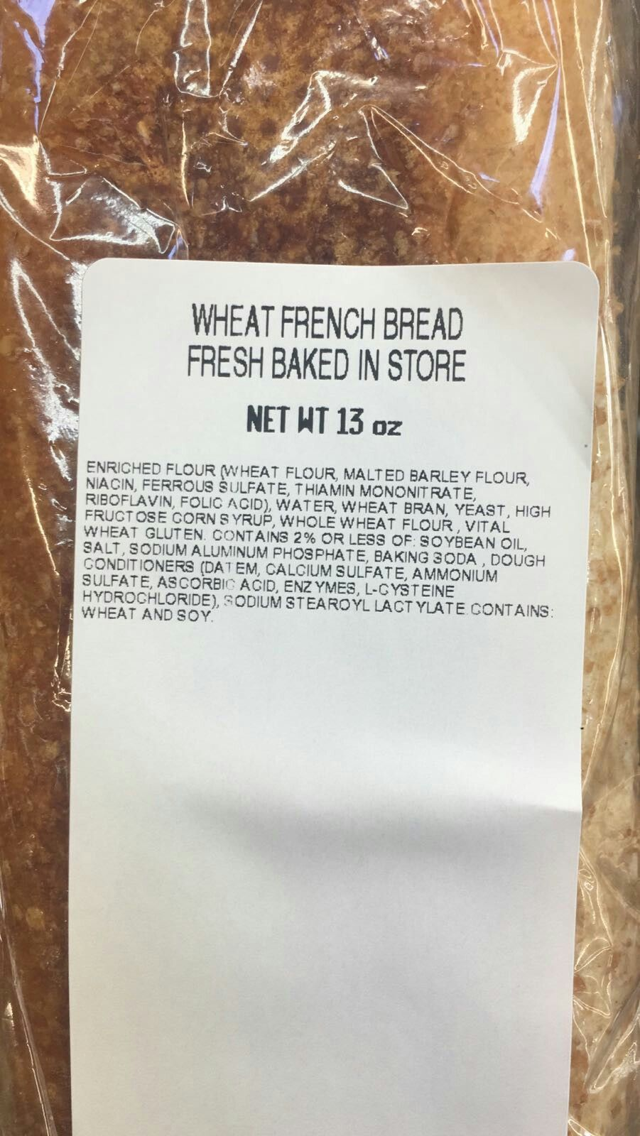 Walmart Bakery Fresh Wheat French Bread Is Vegetarian And Halal Verified On 11 30 2017 I Called The Number On The Pack Barley Flour Malted Barley French Bread