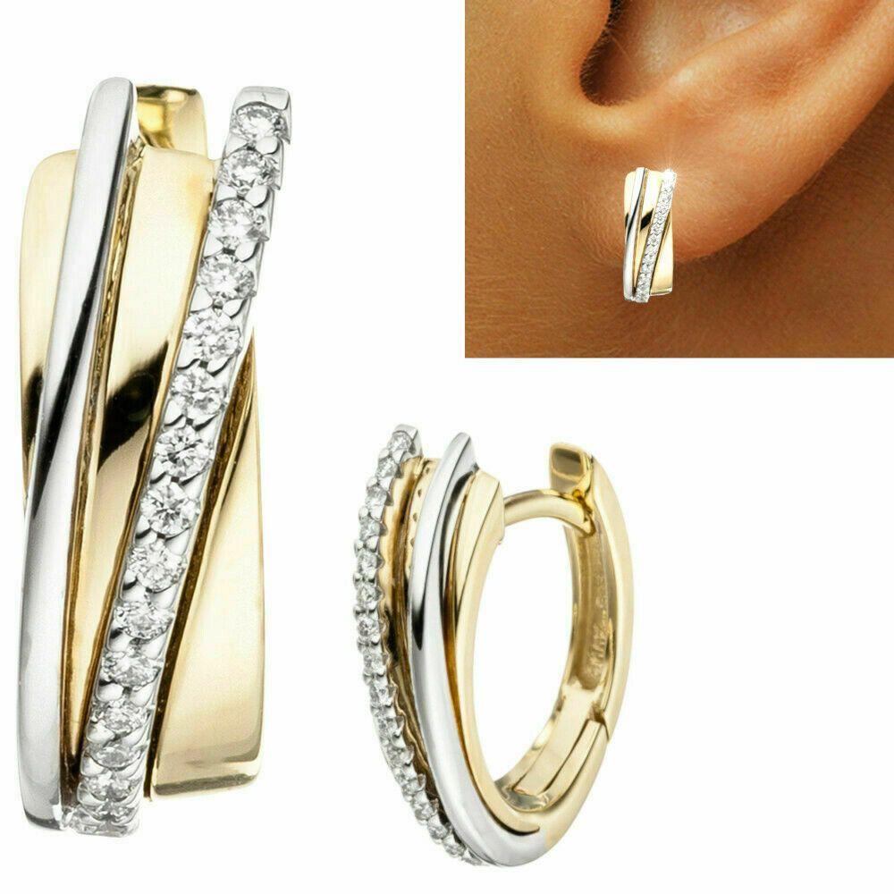 100% original Spielraum suche nach original Creolen 585 echt Gold Ohrringe BICOLOR 14 Karat zweifarbig ...