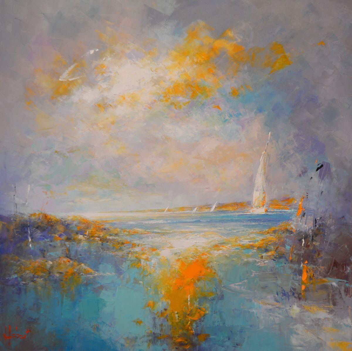 Au Large Painting 70x70 Cm C 2016 By Franck Hebert Painting Art Seascape Paintings