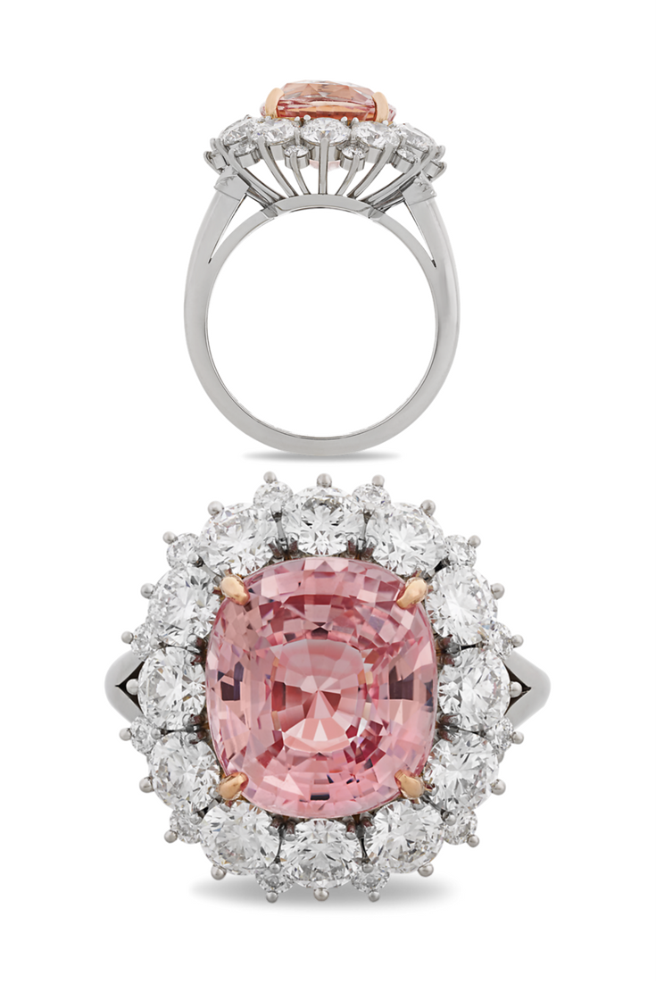 An extraordinary carat padparadscha sapphire takes center stage