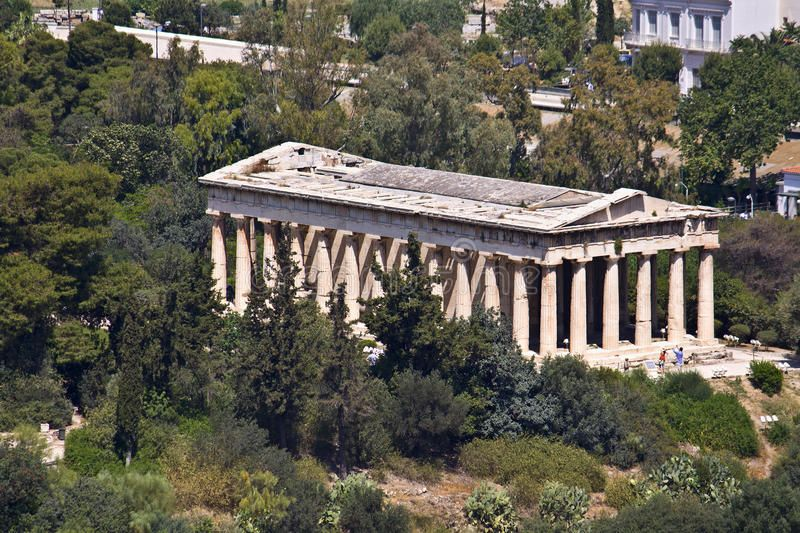 Ancient Agora Of Athens At Greece Temple Of Hephaestus At Ancient