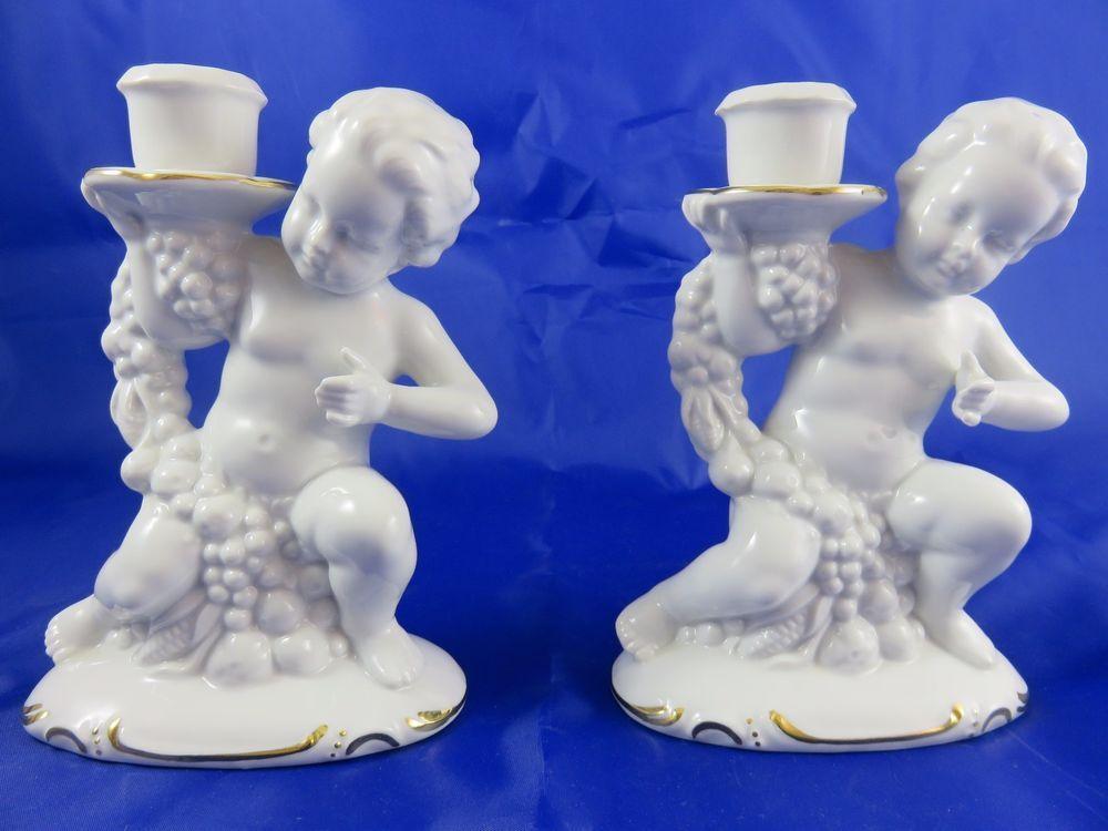 2 x Schöne Graefenthal Porzellan Figur Pute Kerzenhalter ...