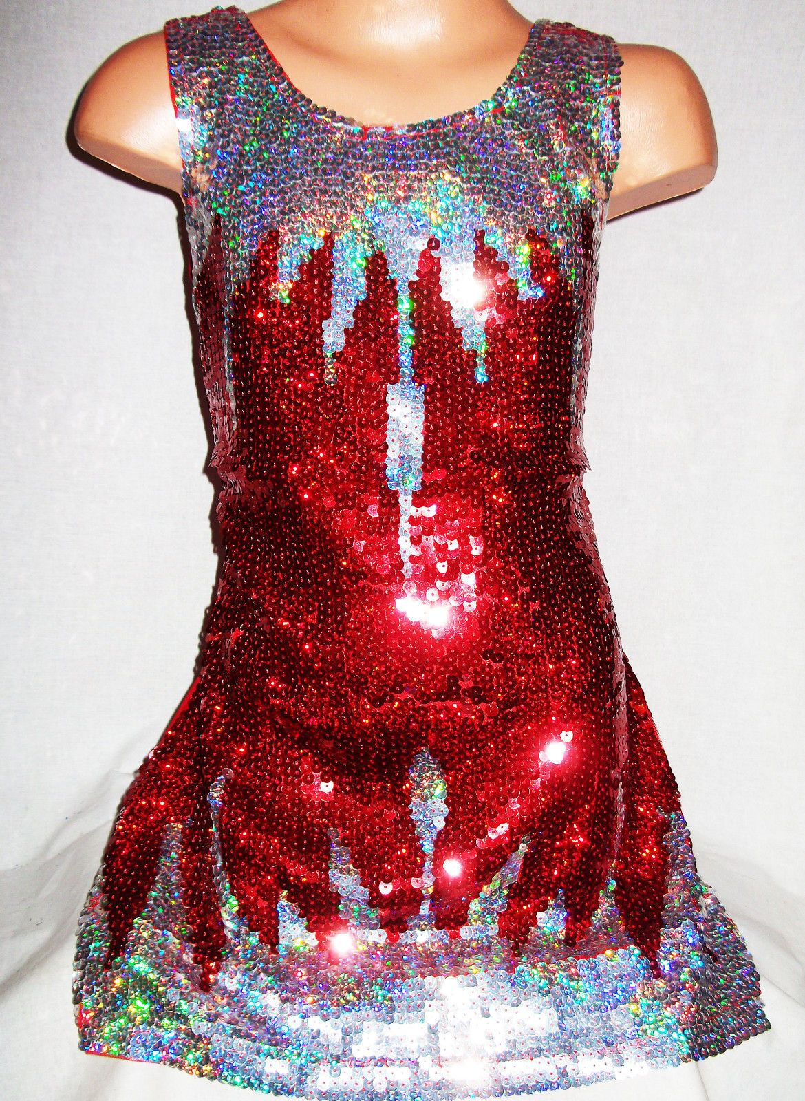 Girls s style red silver icicle pattern sequin evening dance party
