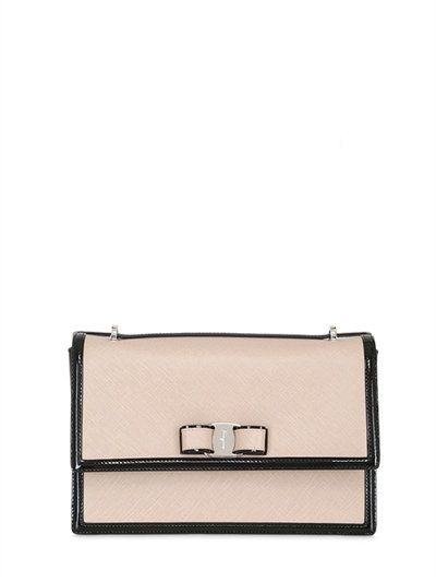 7f28c6a4a303 SALVATORE FERRAGAMO Large Ginny Framed Saffiano Leather Bag, Nude/Black. # salvatoreferragamo #bags #shoulder bags #leather #