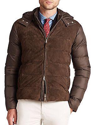 Eleventy Suede-Front Puffer Jacket