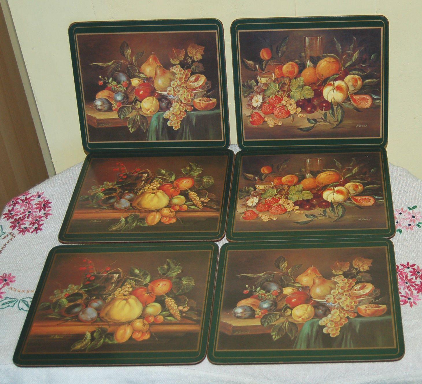 Vintage Retro Set Of 6 Place Mats Pimpernel Fruit Cork Backed Ebay Placemats Retro Vintage Retro