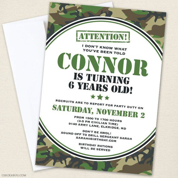 Camo Or Army Party Invitations