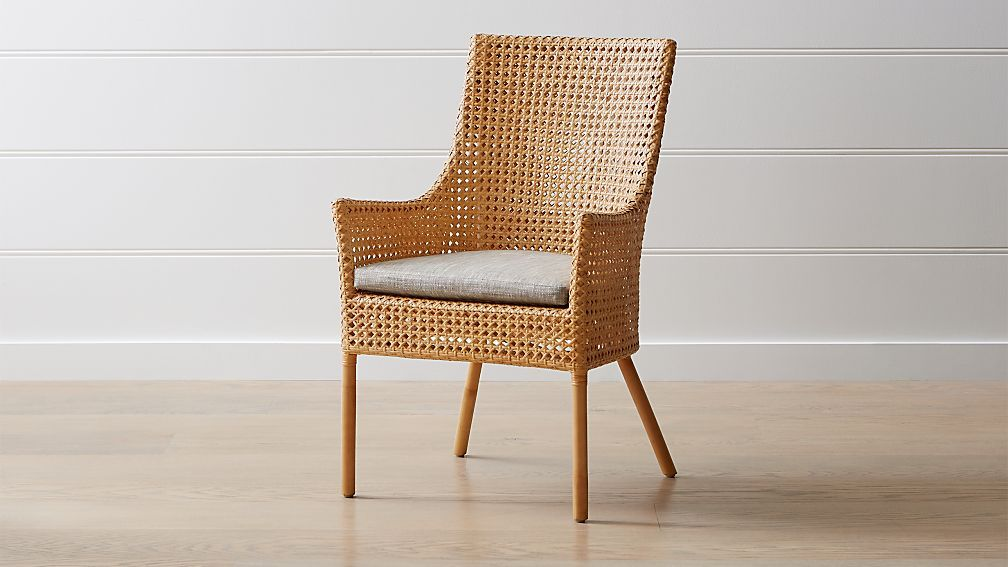 Maluku Natural Rattan Dining Arm Chair And Cushion Crate And Barrel Dining Arm Chair Rattan Dining Chairs Dining Room Chairs