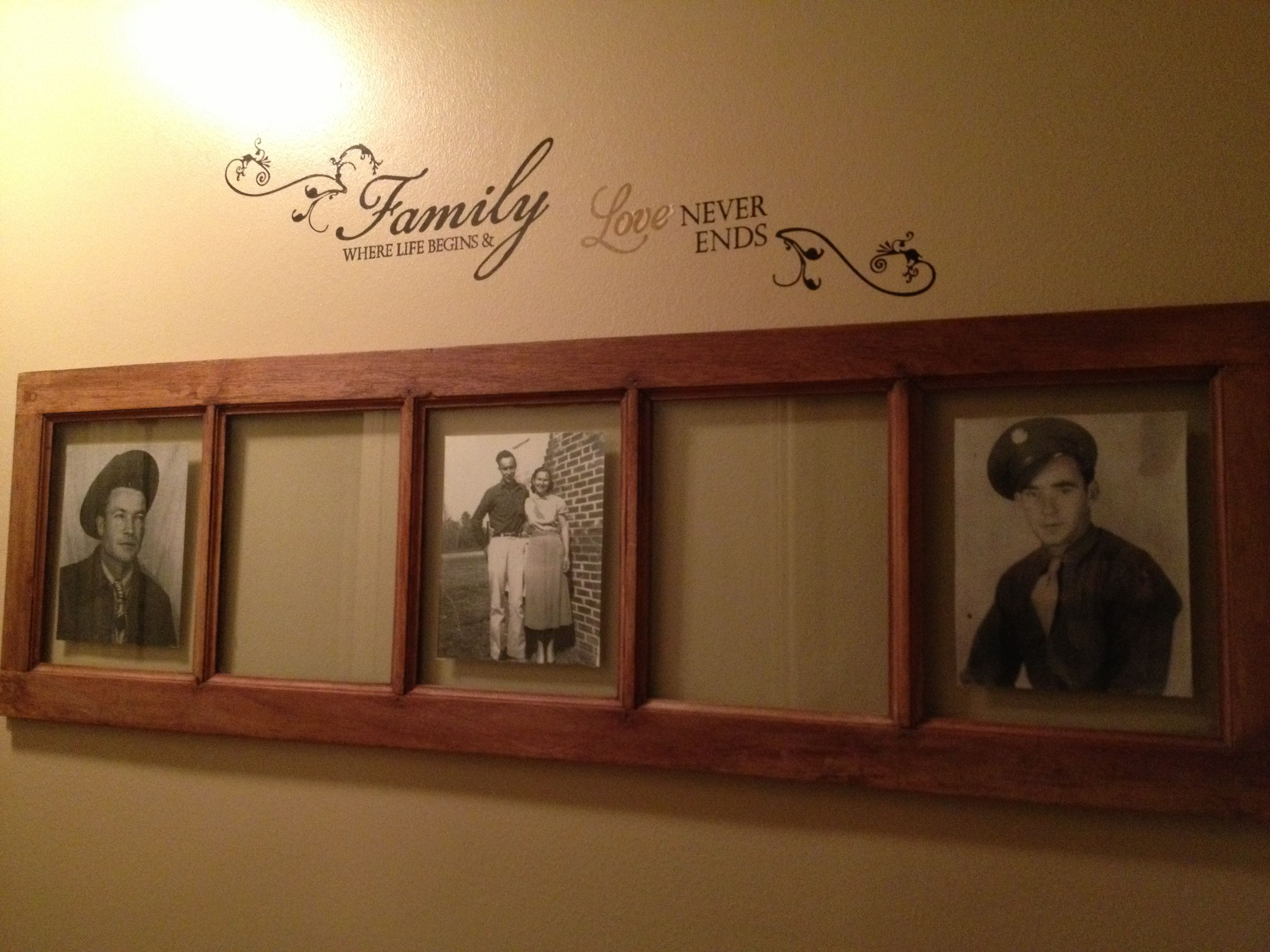 Antique Window Picture Frame With Vinyl Decal