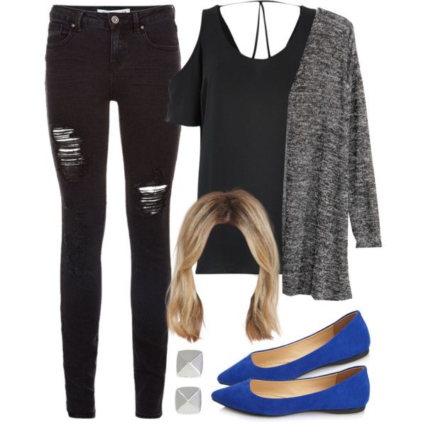 Edgy Hanna Marin inspired outfits with pointy blue flats by liarsstyle on Polyvore featuring Hu0026M ...