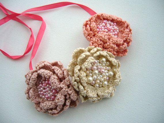 Crochet Collar Gargantilla Pulsera Hairband - Tres Rosas