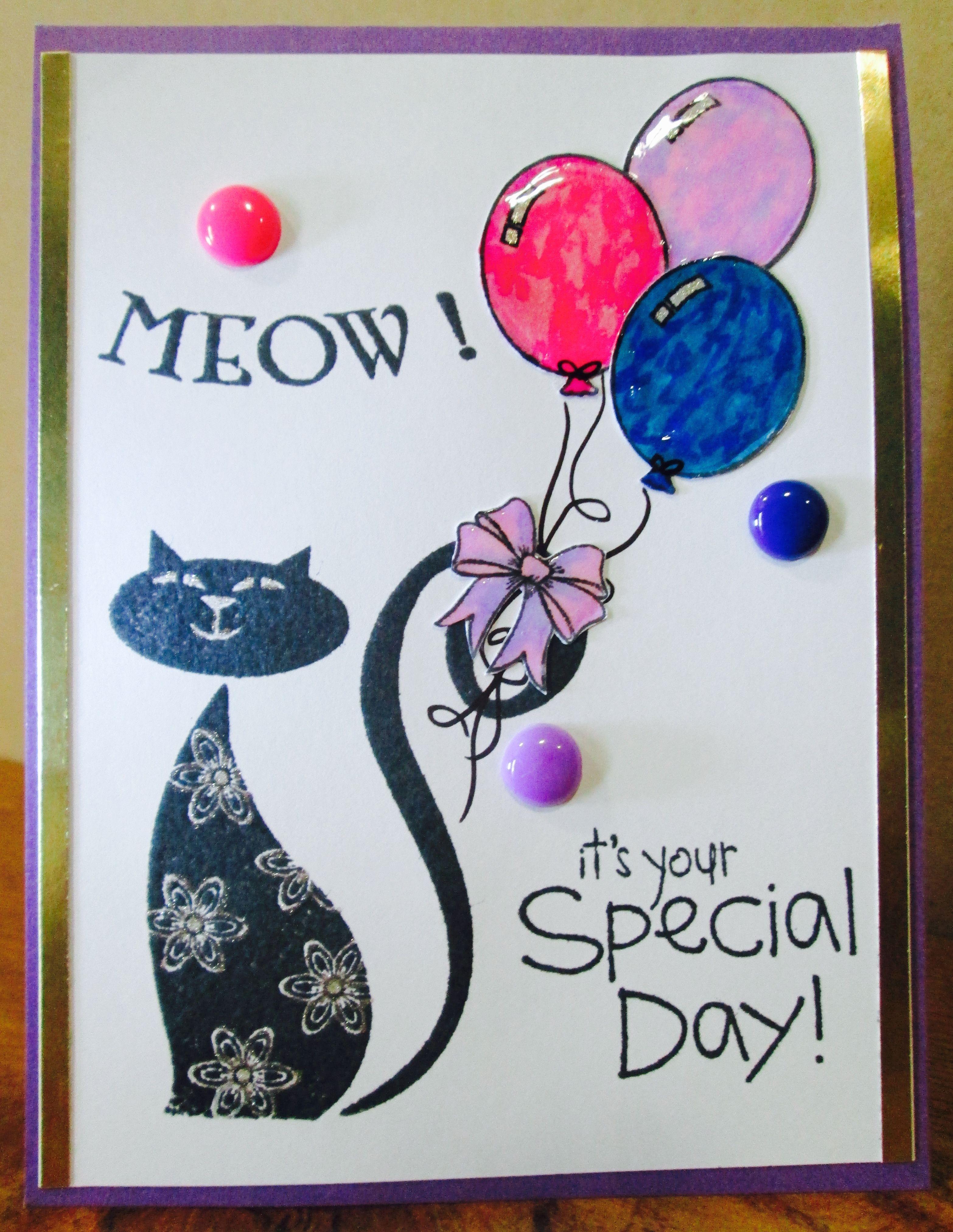 cat birthday card using inkadinkado cattitude stamp donna