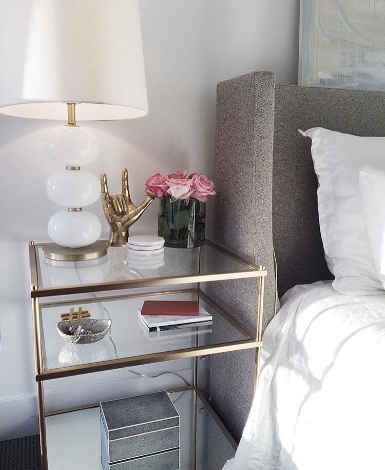 Side table   clear Glass with brass accents  Chic and feminineSide table   clear Glass with brass accents  Chic and feminine  . Side Table For Bedroom. Home Design Ideas