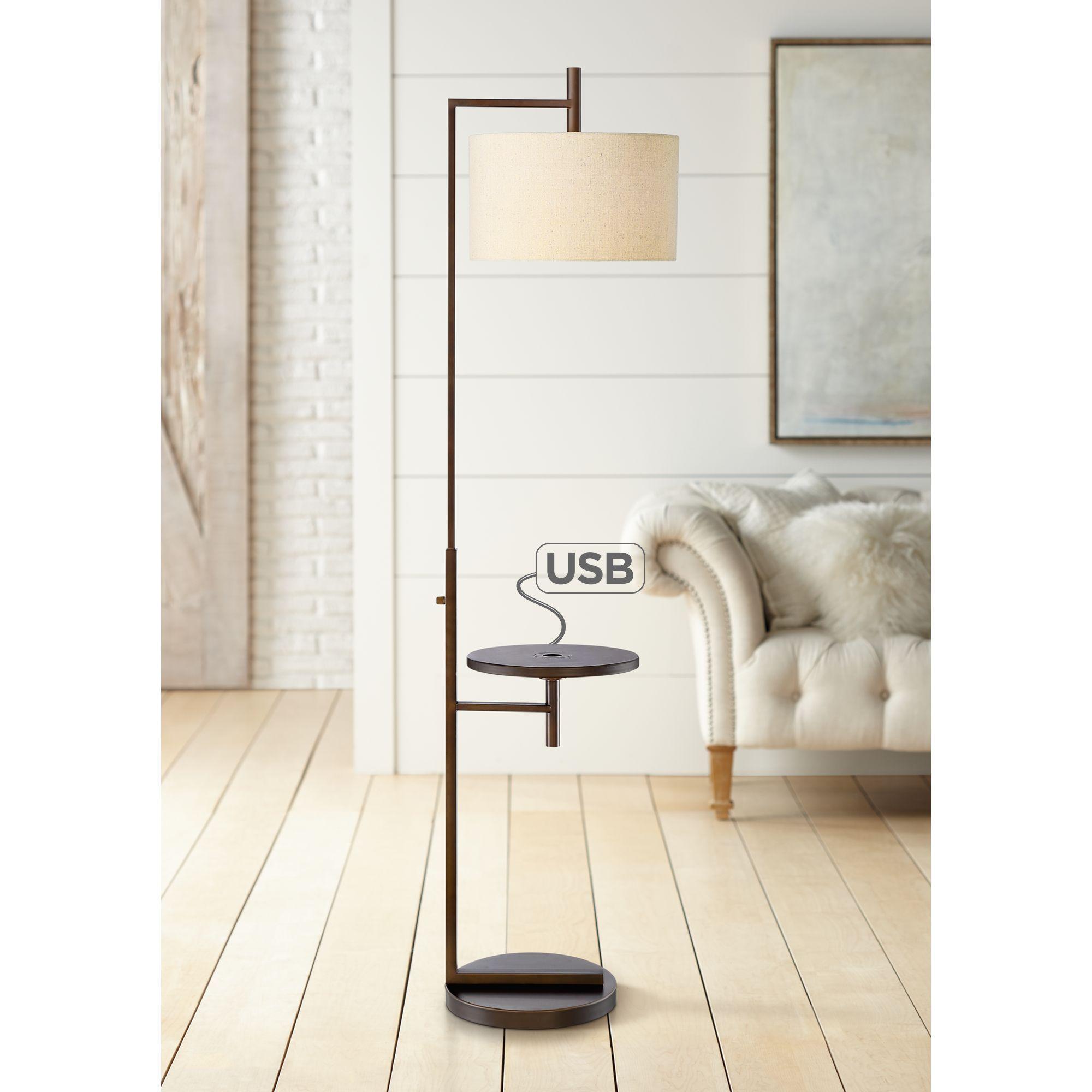 Wood And Metal Granada Floor Lamp With Usb Port And Shelf World Market Floor Lamp With Shelves Floor Lamp Diy Floor Lamp