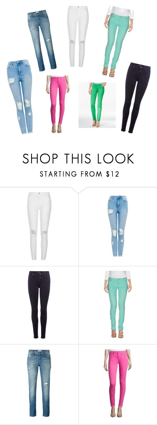 """my jeans collection!"" by ahotarpoojyaluxmi ❤ liked on Polyvore featuring River Island, 7 For All Mankind, JColor, Faith Connexion and Celebrity Pink"