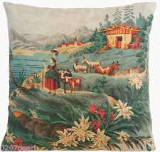 Cushion Pillow Cover Pierre Frey Fabric Heidi Story Sheep House Village Green