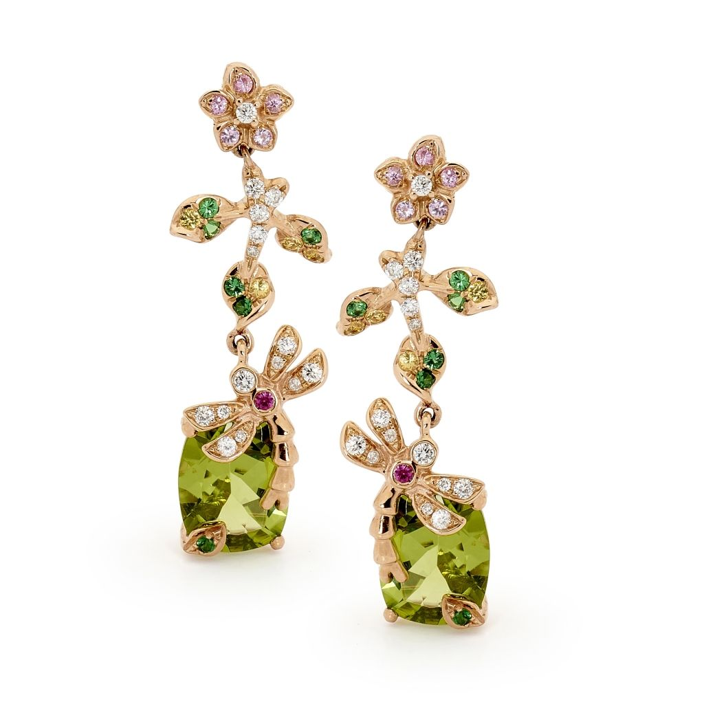 Dragonfly peridot and diamond drop earrings matthewely by york