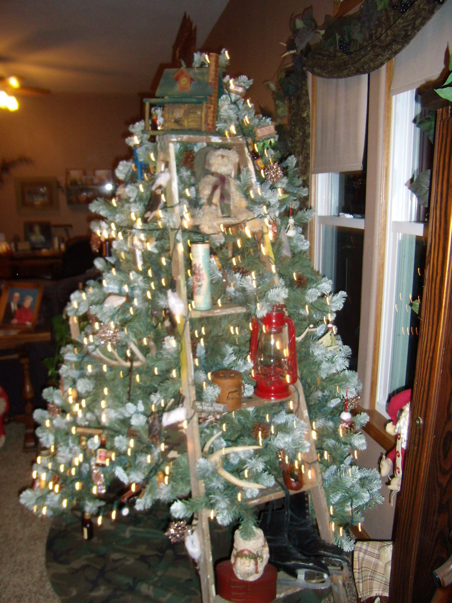Christmas Tree Built In A Ladder Holiday Displays