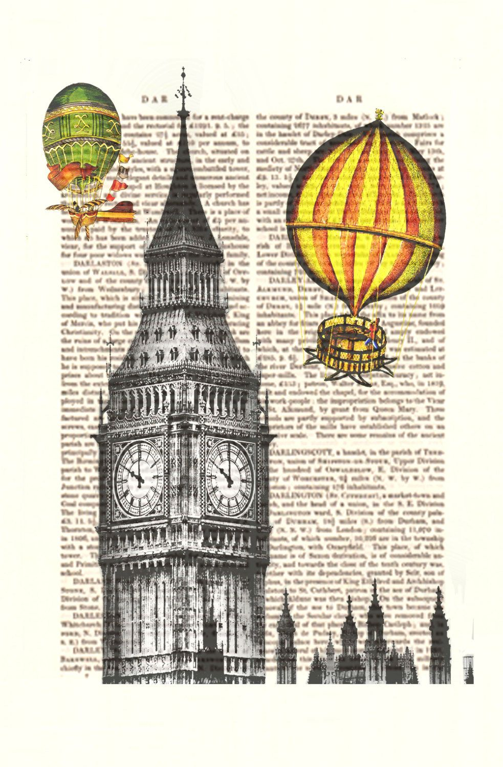 Vintage hot air balloon print over london art giclee print for Balloon decoration london