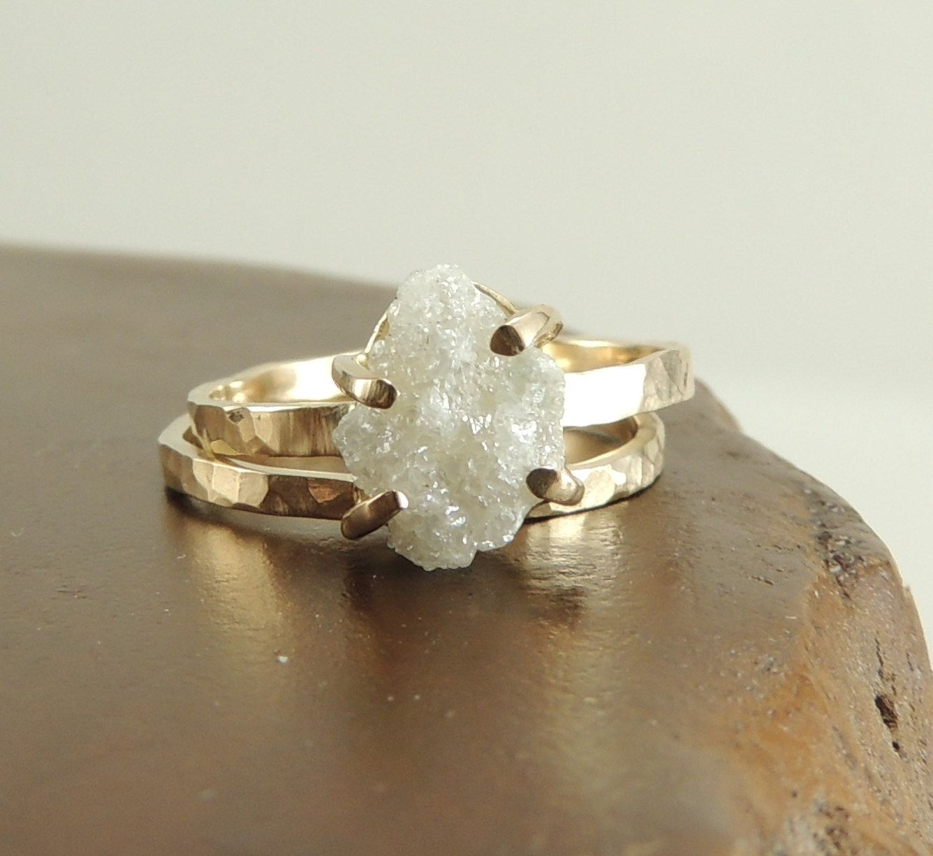 Rough Diamond 14k Gold Ring, Prong Set Large Rough Diamond Ring, Handmade Engagement  Ring
