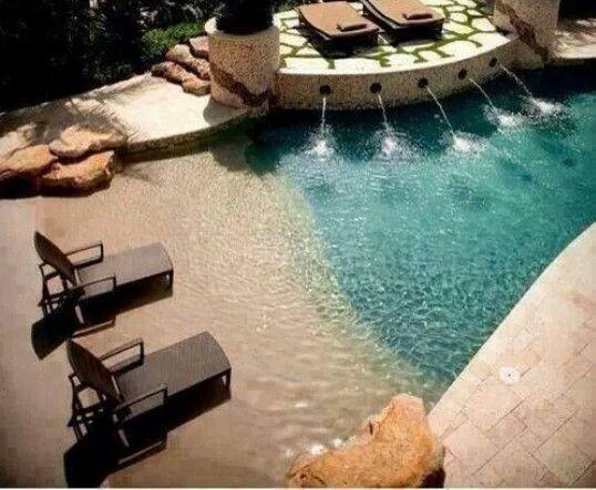 backyard salt water pool. Zero Entry Pool To Resemble A Beach. I\u0027d Make It Salt Water Backyard