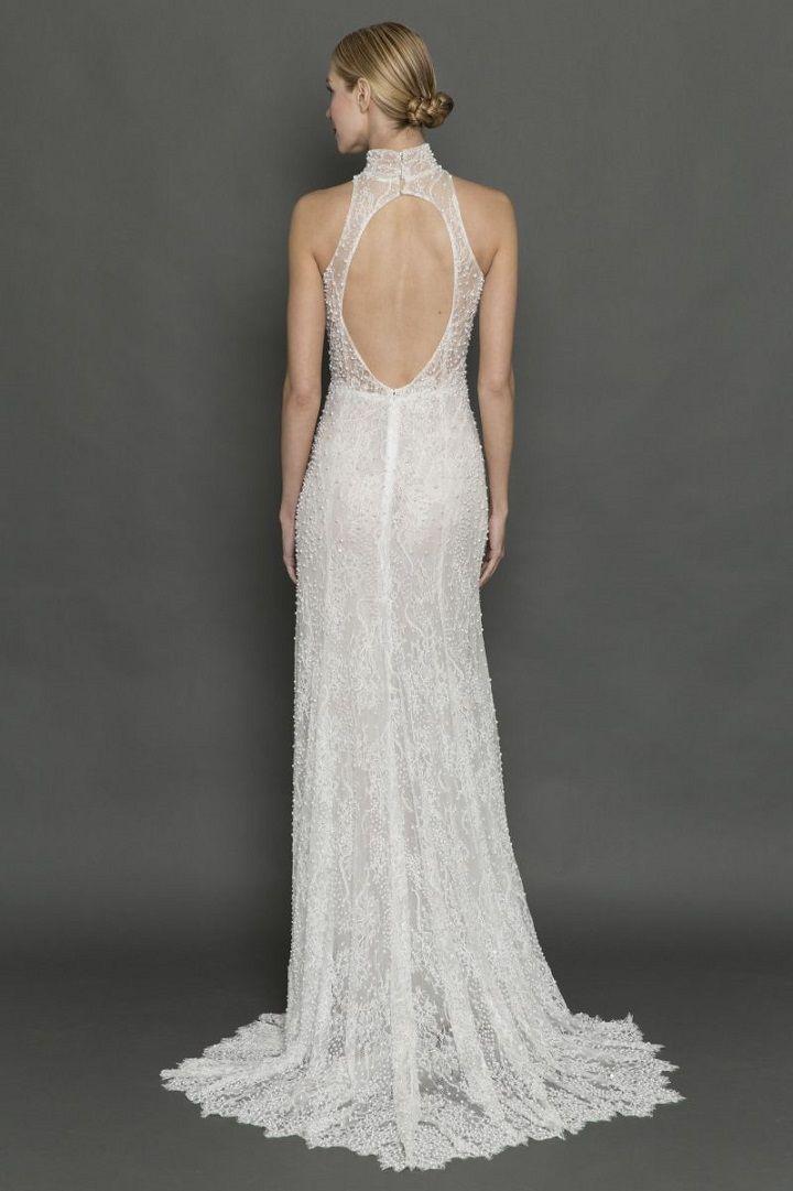 Francesca Miranda high neck pearl encrusted and cut back wedding dress | itakeyou.co.uk #weddingdress #weddingdresses #highneck #bride #bridalgown #weddinggown #weddinggowns