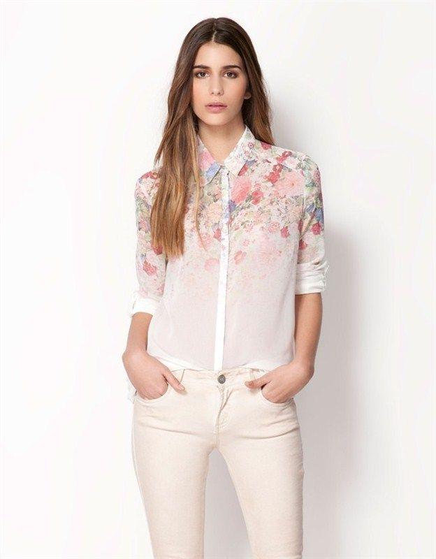 0c58def508d Элегантные сексуальные женщины блузка шифон цветок цветочные печать  отложным воротником с длинными рукавами рубашки топы белых женщин рубашки  купить в ...