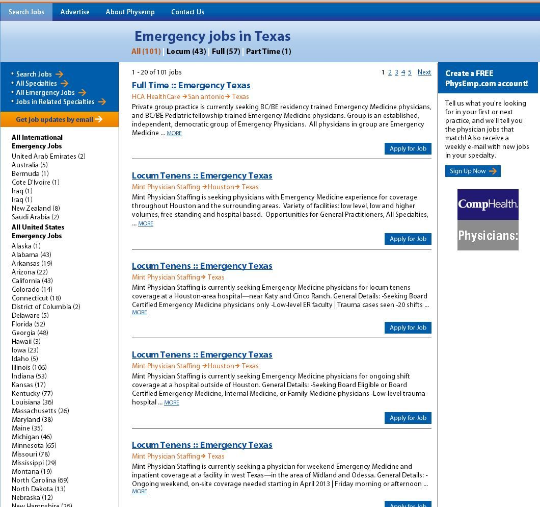 Emergency Medicine Jobs in Texas! Physician jobs