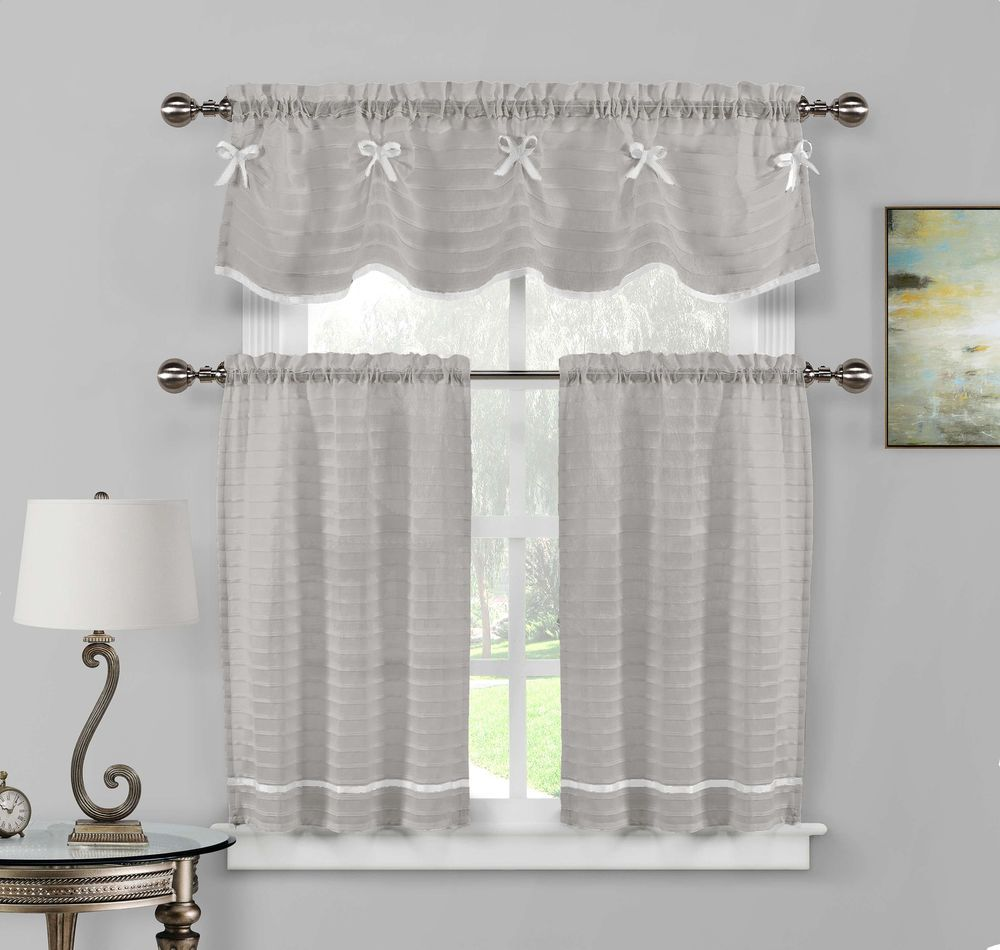 Gray And White Faux Silk Kitchen Window Curtain Drape Tier
