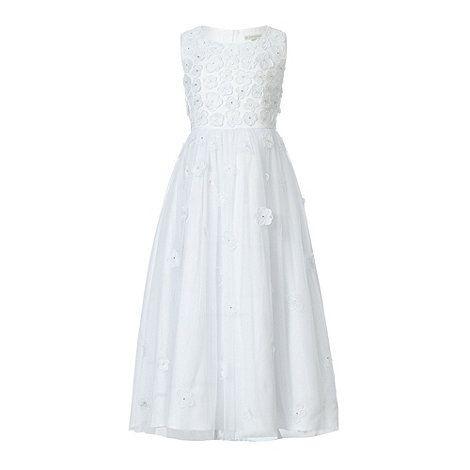 John Rocha Designer Girls White Scattered Flowers Dress At Debenhams