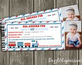 Train Ticket Birthday Invitation - FREE thank you card included. $15.00, via Etsy.