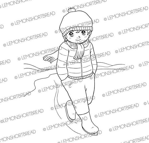 Digital Stamp Ice Skating Guy Digi Download Winter Boy