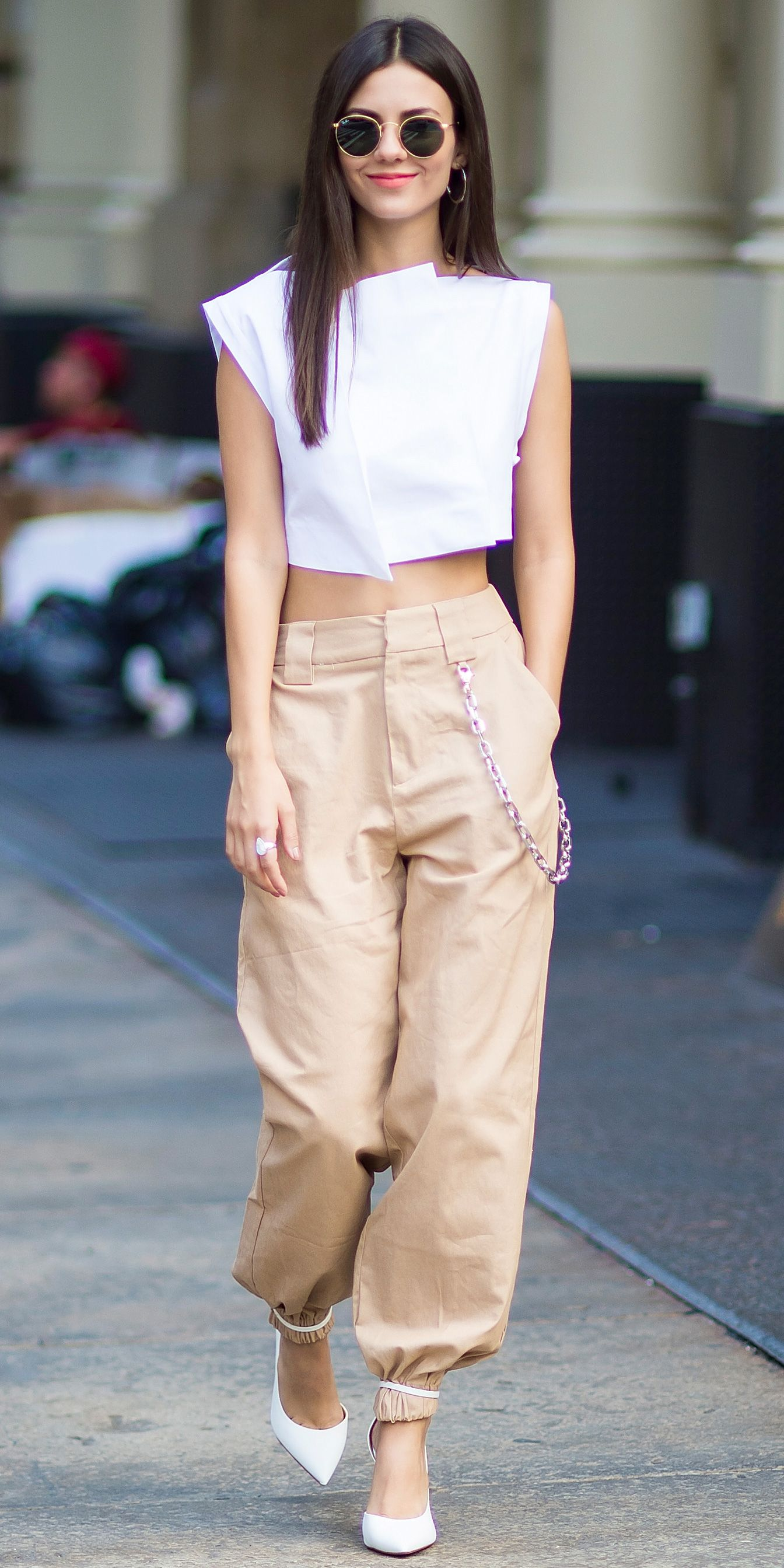 84f6e75b21 Victoria Justice managed to make khakis chic when she stepped out in New  York City