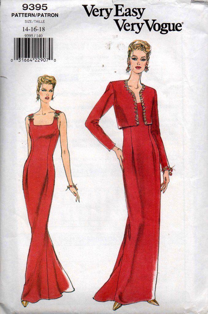 Very Easy Vogue 9395 Womens 90s Cocktail Dress & Bolero Jacket ...