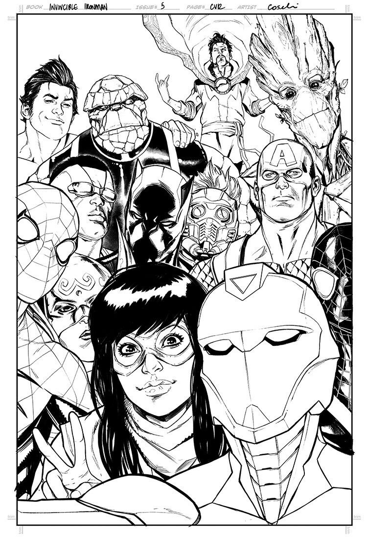 Invincible Iron Man 5 Cover Stefano Caselli Art Coloring Pages Marvel