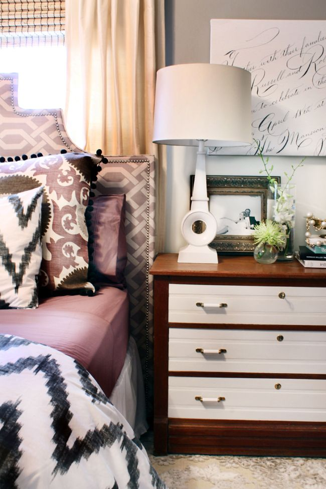Mix of Patterns // Two Tone Dresser // Calligraphy Art