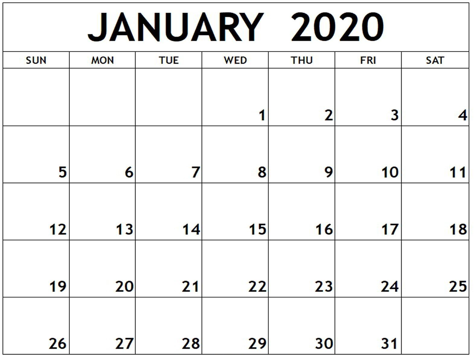 Printable January 2020 Calendar With Holidays Templates With