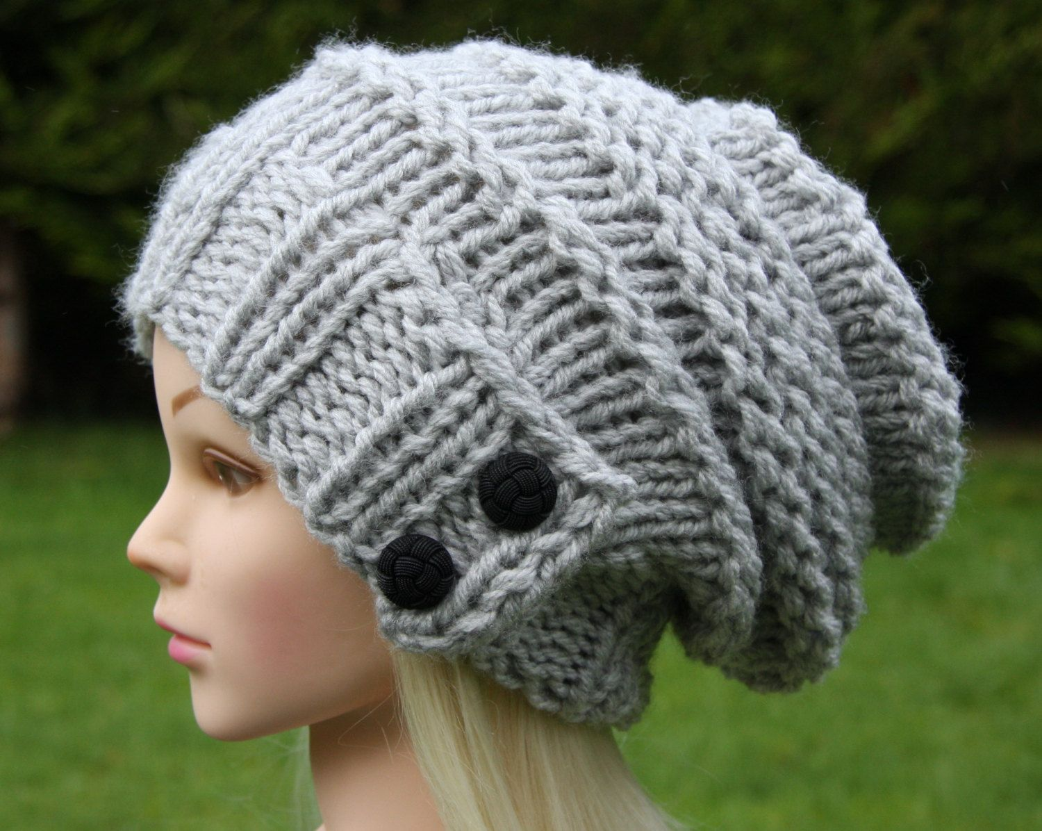 ebaab0e6028 Hand Knit Hat Women s hat- beanie- slouchy hat with two black buttons-  winter