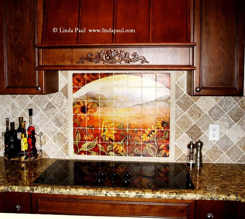 Mural Tiles For Kitchen Decor Kitchen Backsplash Murals  Sunflower Kitchen Decor Tile Murals