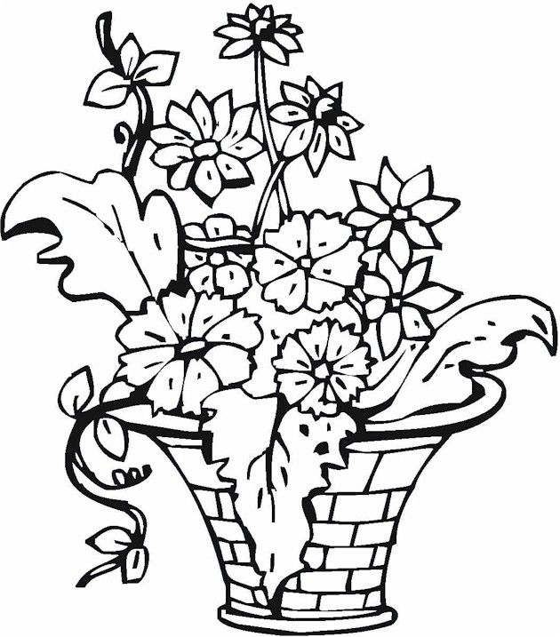 vase pottery coloring page - Coloring Pages Roses A Vase