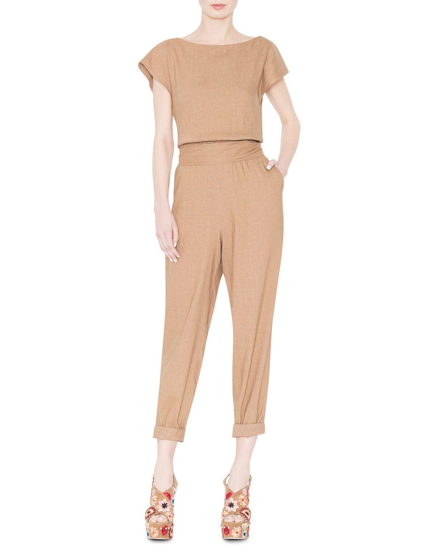 Kobi Cap-Sleeve Linen-Blend Jumpsuit, Tan, Women\'s, Size: 12 - Alice ...