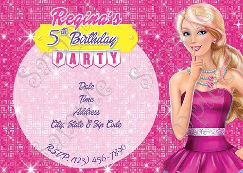 Barbie Birthday Party Invitation FREE thank you card Barbie