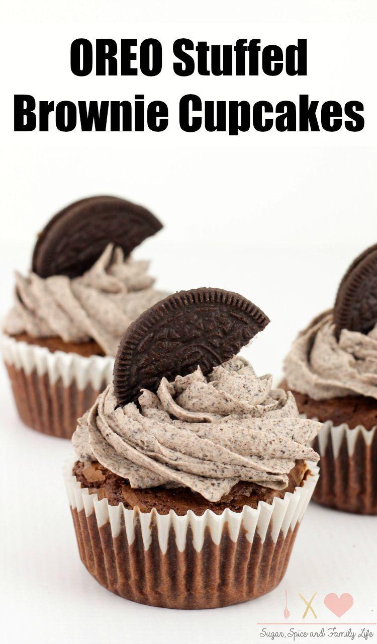 Oreo Stuffed Brownie Cupcakes Recipe - Sugar, Spice and Family Life