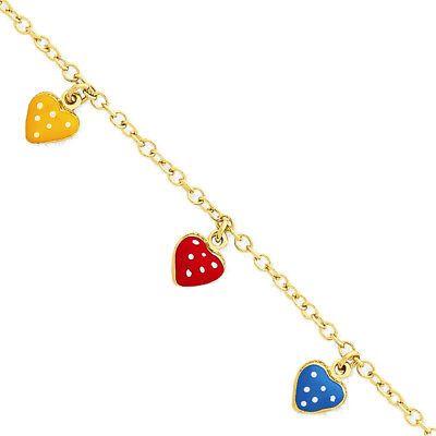 Bracelets 84606 14k Yellow Gold Orange Red And Blue Enamel Heart Station Bracelet