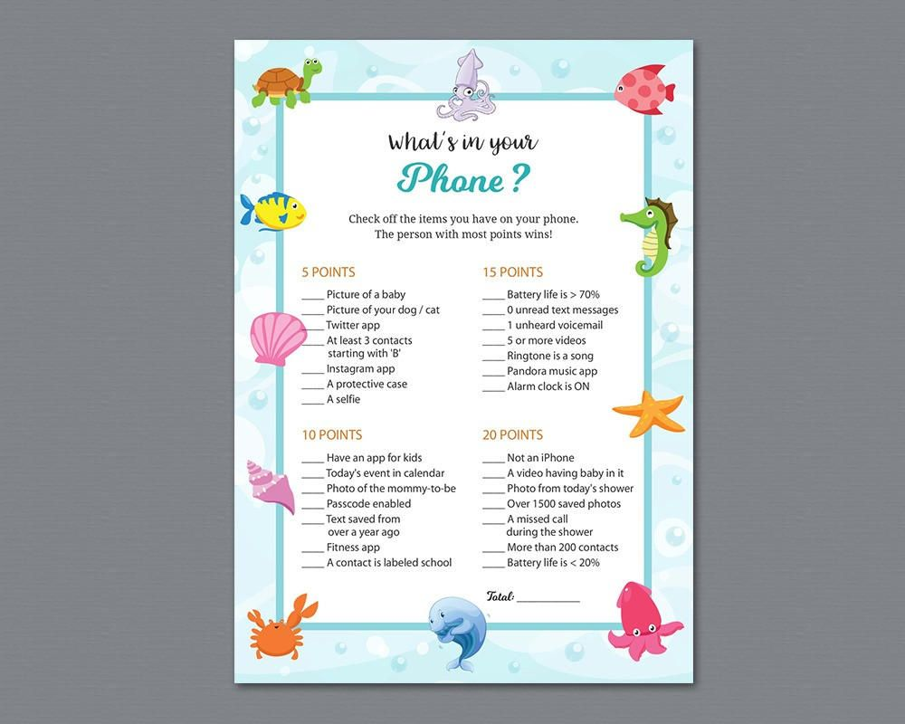 Baby Shower What's In Your Phone Game Printable, What's on