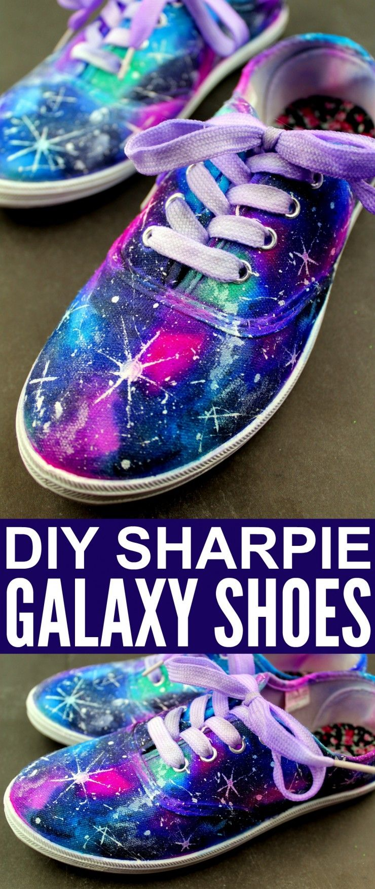 7b0bb909b04676 These DIY Sharpie Galaxy Shoes are a fun project you can make at home to  create your own customised shoes with a look that is out of this world!