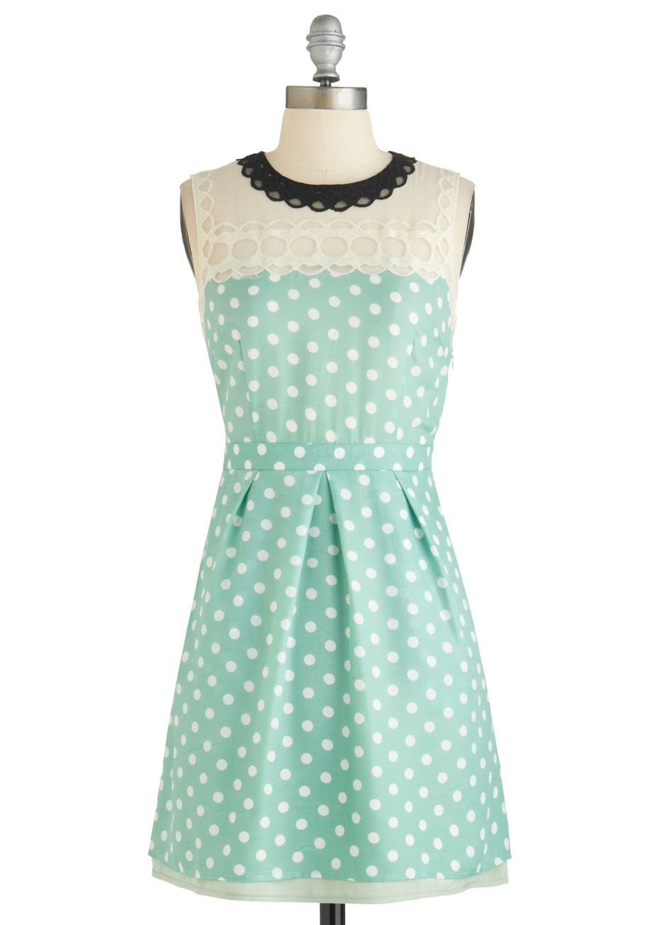 Draw a Cloud Dress - Mint, White, Polka Dots, Lace, Casual, A-line ...