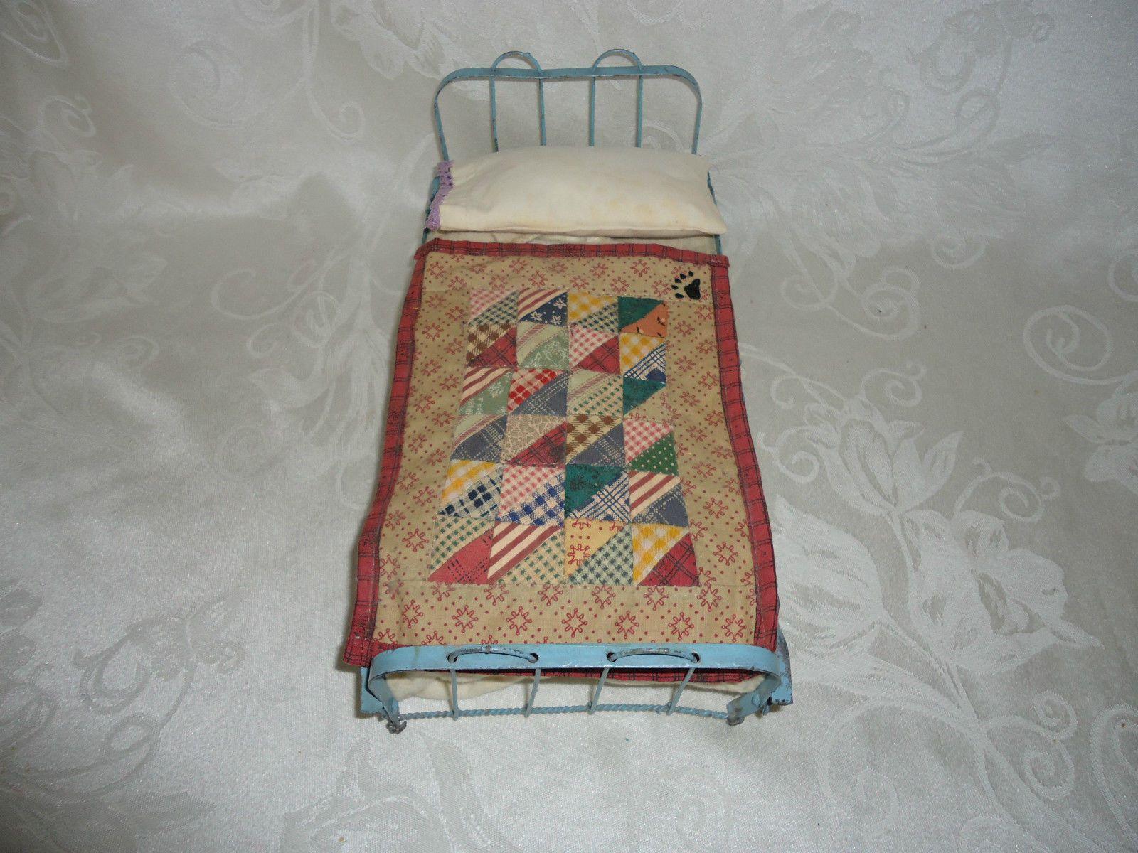 Antique Wrought Iron Tin Fancy Dollhouse Bed Bedding | eBay